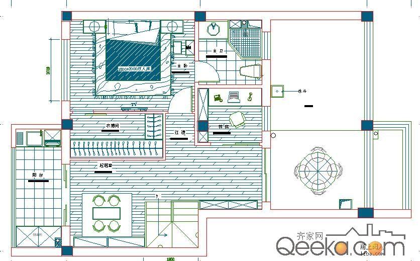 二层平面设计图,主卧和书房都是放在楼上的,也就是说楼图片