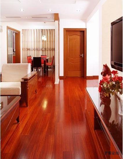 红色地板配窗帘黑金花地板搭配窗帘图片3