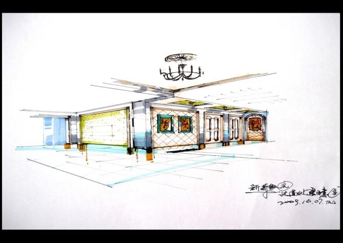 展示手绘效果图_展示设计手绘效果图样板美图装修大本营杭州