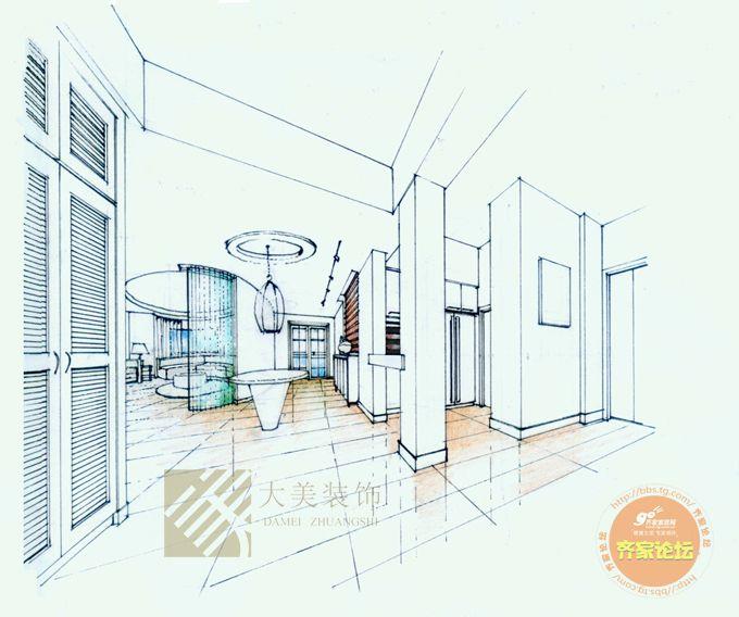 室内设计手绘图——一点透视.   相关内容 手绘室内透视图